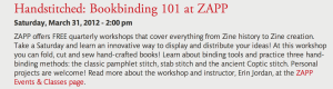 Bookbinding Workshop at ZAPP March 2012