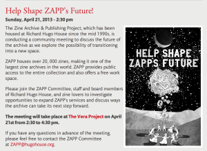 Help Shape ZAPP's future April 2013