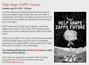 Help Shape ZAPP's future April 2013
