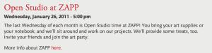 Open Studio January 2011